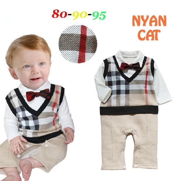 2016 baby boy осень ползунки галстук-бабочка с длинным рукавом младенческой джентльмен зима ползунки малыша комбинезоны bebe rompers детские костюмы