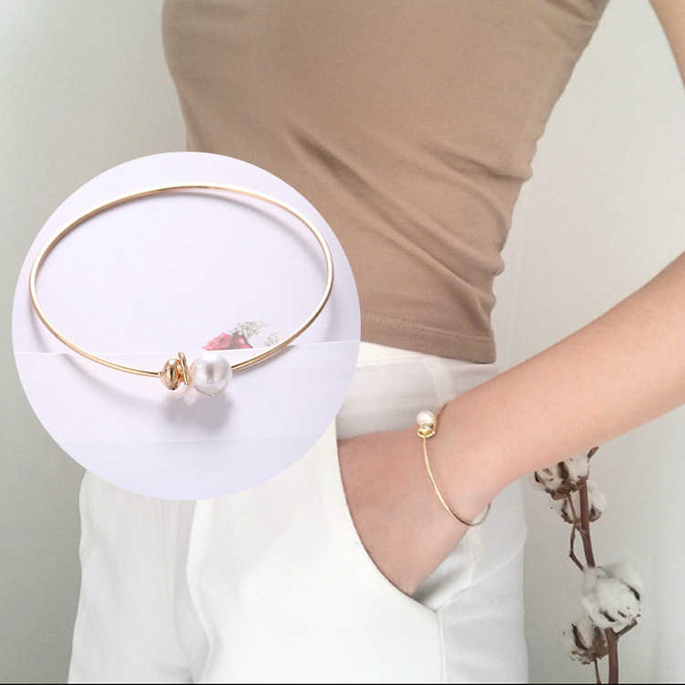 New Wedding Fashion Jewelry Gold Open Cuff Bracelets Simple Simulated Pearl Ball Beads Adjustable Bangles Women Cuff Bracelets