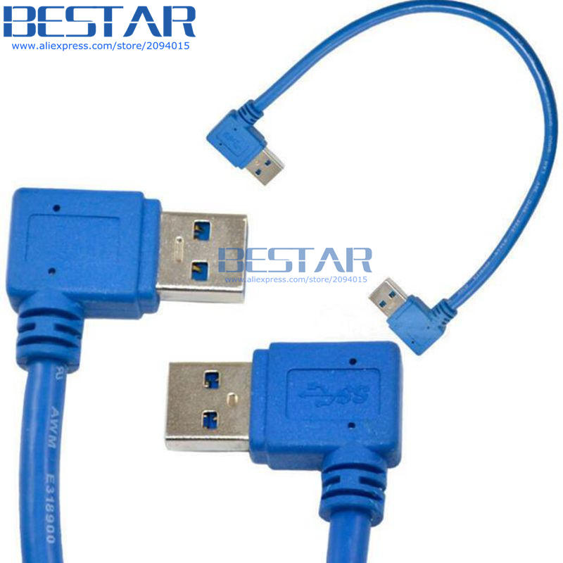 USB 3.0 A Male Plug 90 Degree Left Angle to A Male Right Angle Adapter Cable 1FT