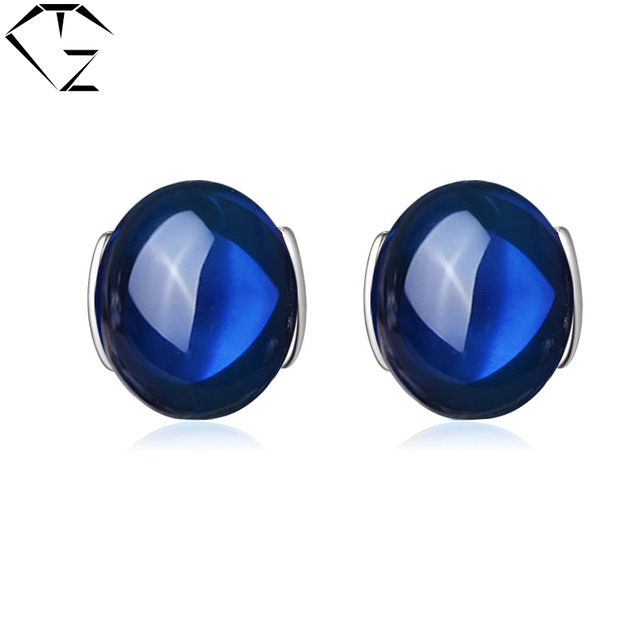 GZ 925 Sterling Silver Brincos Red Garnet Stud Earring Blue Corundum S925 Silver Earrings Women Jewelry LE01