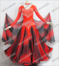 Red&Black Modern Waltz Tango Ballroom Dance Dress,Smooth ,Standard Ballroom Dress,Ballroom dance skirt women New modern
