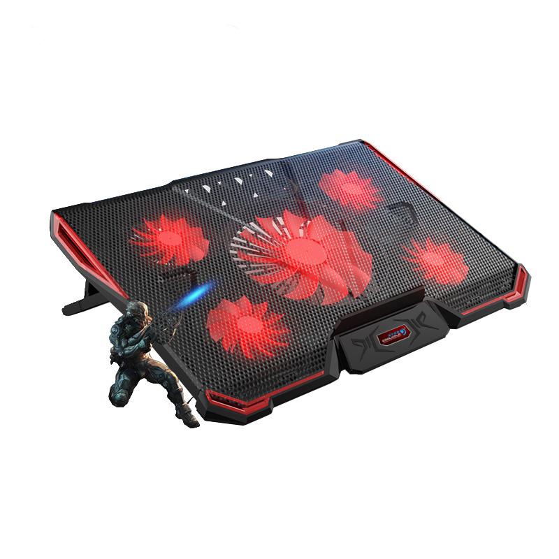 Prix pour Cinq LED Fans 2 USB Ports Réglable Air-refroidi Accessoires D'ordinateur Portable Laptop Cooling Pads plus âgés pour 12-17 pouce Ordinateur Portable Avec L'emballage