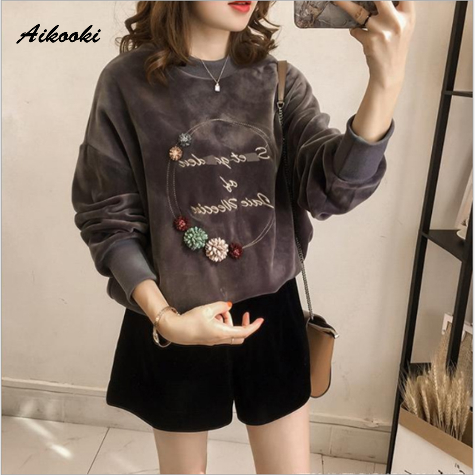 Aikooki Velvet Hoodie Sweatshirt Women Autumn Winter Letter print Embroidery Velour Casual Vintage Elegant Long sleeve Lady Coat