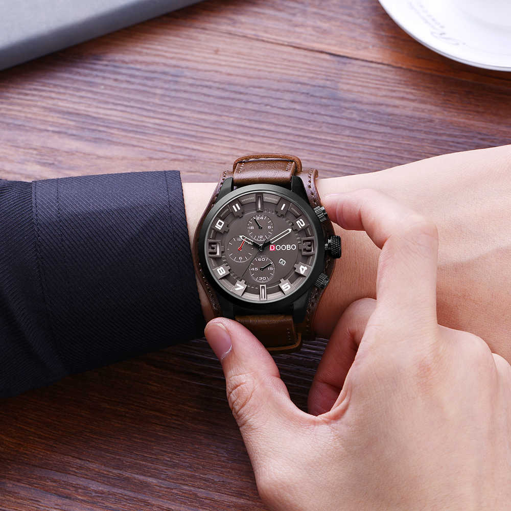 DOOBO Luxury Man นาฬิกา D033 กองทัพทหารกีฬาควอตซ์ชายนาฬิกาผู้ชาย Hodinky Relojes Hombre วันที่ 8225