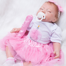 Cloth Body Sleeping Girl Reborn Doll 20 Inch Lifelike Newborn Babies Realistic Alive Toy With Dress Kids Birthday Xmas Gift