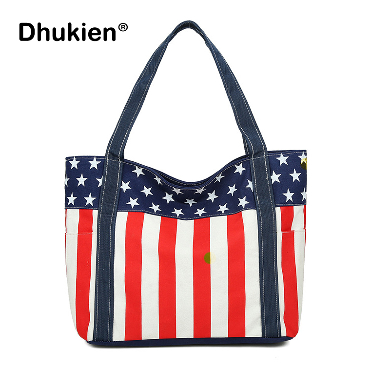 Large Beach Bag For Women Canvas Tote With Zipper American Flag Print Las Shoulder Bags Ping In From Luggage On