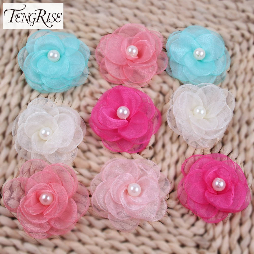 Hair bow button accessories - Fengrise 5pcs Patches Organza Artificial Fabric Flowers Tutu Dress Hair Bow Decoration Apparel Sewing Accessories Felt