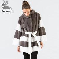 Furealux New Type Luxury Real Fur Coat Women Stand collar Bat Sleeved Full Pelt Mink Fur Jackets Winter Ladie Mink Fur Coats