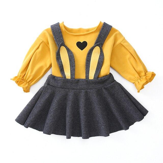40bfa43330 autumn new fashion baby loving heart t shirt overalls 2PCS sets girls  loveliness suspender dress set child clothing children set