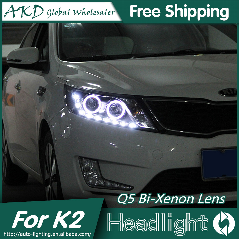 AKD Car Styling for Kia K2 Headlights 2011-2014 Rio LED Headlight LED DRL Bi Xenon Lens High Low Beam Parking hireno car styling for toyo ta corolla 2011 13 headlights led super bright headlight drl xenon lens high fog lam
