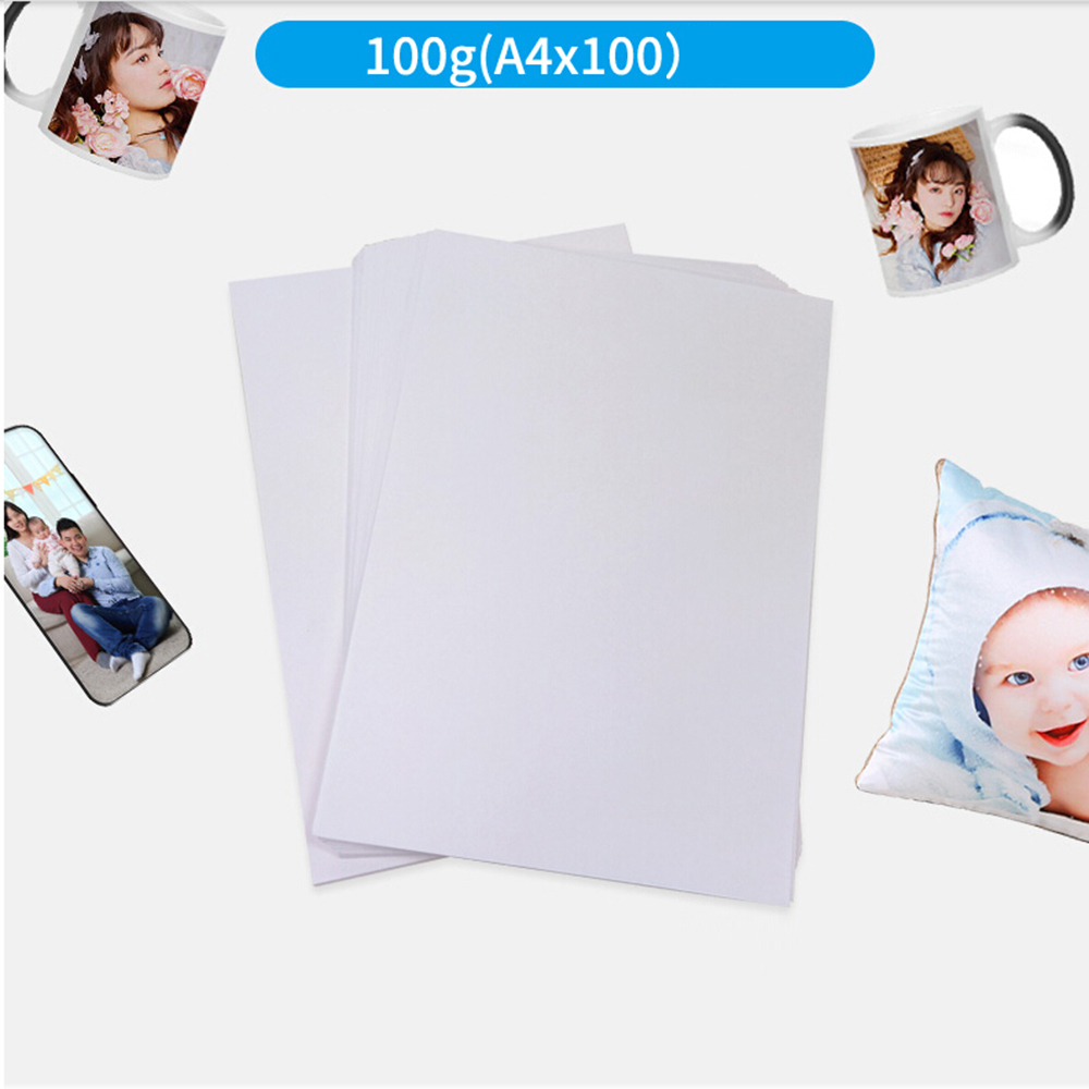 100Pcs A4 Iron On Heat Transfer Paper  For Polyester Cotton T-Shirt Cushion Fabrics Cloth Phone Case Printing Design