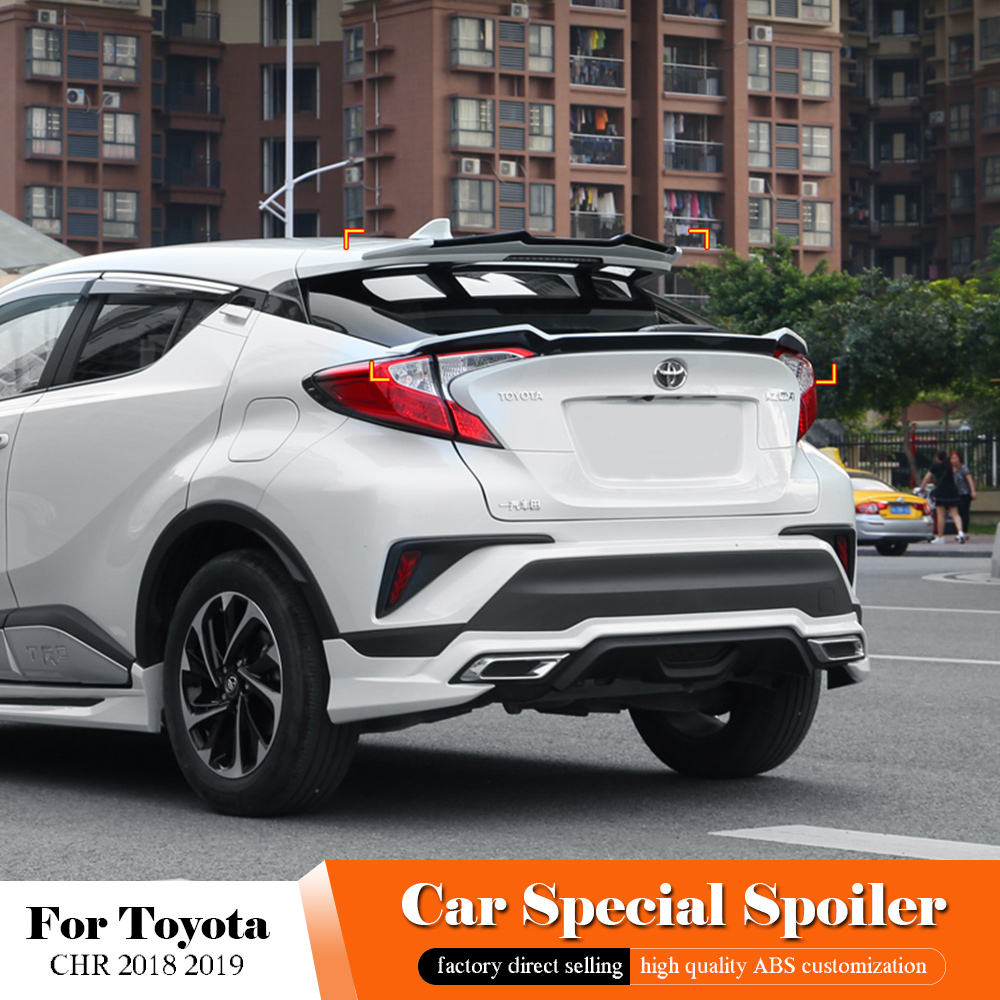 For Toyota CHR C-HR IZOA 2018 2019 Top Spoiler High Quality ABS Plastic Unpainted Color Rear Spoiler Trunk Lip Wing Car StylingFor Toyota CHR C-HR IZOA 2018 2019 Top Spoiler High Quality ABS Plastic Unpainted Color Rear Spoiler Trunk Lip Wing Car Styling