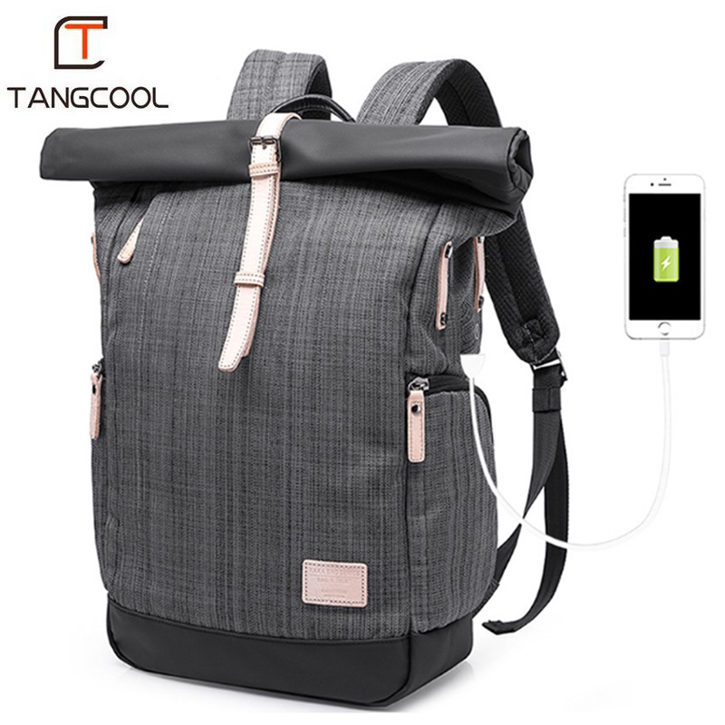 Tangcool Man Backpack USB Charge Waterproof Anti-theft Big Laptop Backpack School Bags For Teenagers Student Travel Bag College zelda laptop backpack bags cosplay link hyrule anime casual backpack teenagers men women s student school bags travel bag