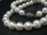 WOW! AAA 8mm round freshwater pearl Necklace 14K Gold Clasp