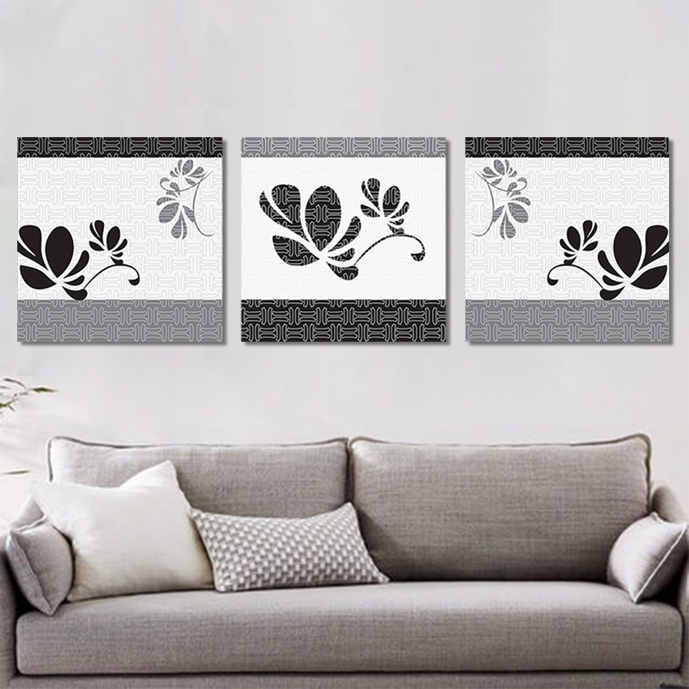 Unframed 3 Pairs Abstract Canvas Painting Lines leaf Wall Art Decor Prints Wall Pictures For Living Room Wall Art Decoration