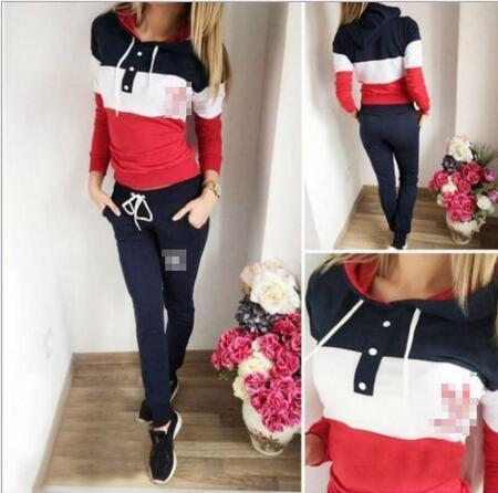 Free Shipping 2016 Autumn Winter Warm Women Two pieces set Patchwork Colorful Tracksuit Female Sweatshirts Long Pants