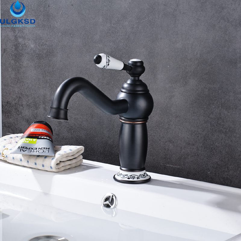 ULGKSD Wholesale and Retail Black Brass Basin Faucet Mixer Tap Single Ceramic Handle Deck Mounted Bathroom Sink Faucet ulgksd basin sink faucet deck mounted mixer tap antique brass single handle bathroom faucet