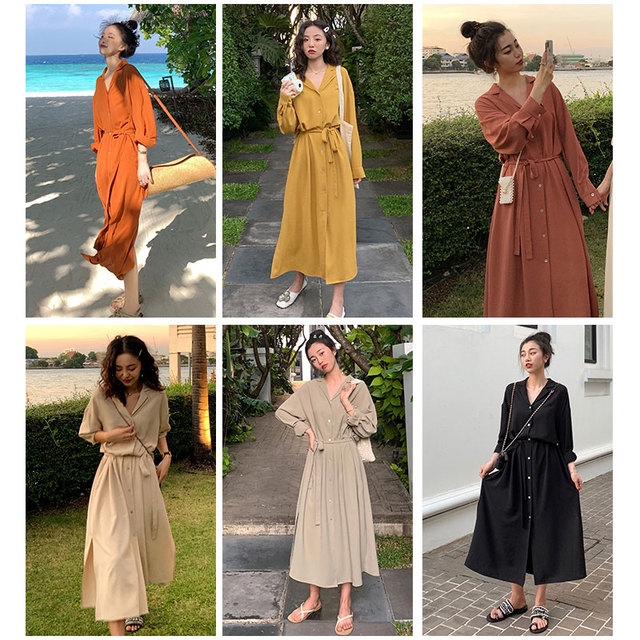 Flectit Business Chic Women Midi Shirt Dress with Bow Button Up Long Sleeve Spring Summer Dress Office Lady Outfit * 5