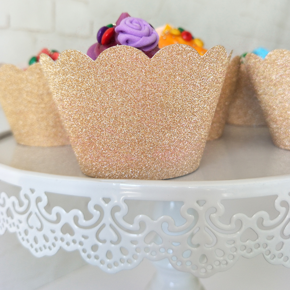 36pcs Glitter Cupcake Wrappers Rose Gold Silver Cup Cake Liners Paper Party Decor Birthday Wedding Home Dessert Table Setting