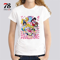 Sailor Moon Super Inner Senshi T Shirt Women Short T Shirt Novelty Harajuku Design Casual Female