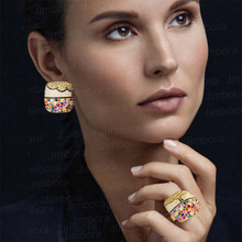 Luxury Charms Multicolor Crystal Square Statement Ring Earring Set Full Cubic Zircon Women Fashion Jewelry Sets 2019