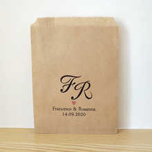 Custom Couple Name and Date Wedding Favor Bags,Rustic Engagement Party Candy Buffet Printed Paper Bags  Cookie Treat Bag