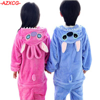 Cute Baby Boys Pajamas Girls Winter Flannel Clothing Children Cartoon Animal Stitch Nightgown Pyjamas Kid Onesie