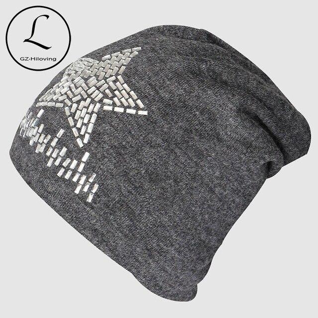 Cotton Knitted Cap 2016 Fashion Winter Hats Rhinestones Star Hip-hop Hat Outdoor Crochet Skullies Beanies Gorro Female Gift 6231