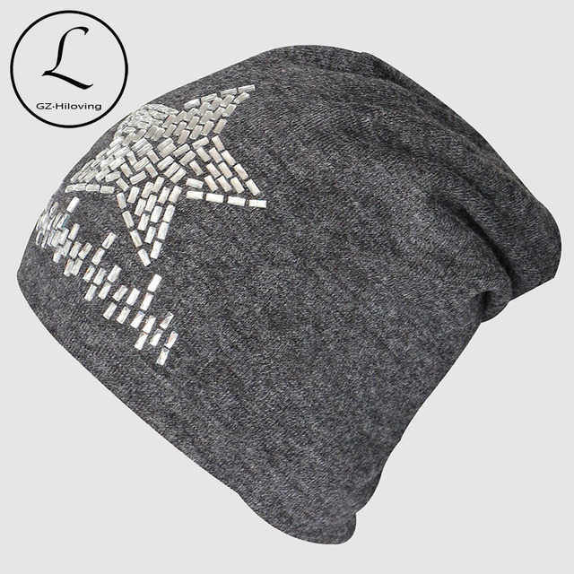 Tapa 2016 de La Moda de Invierno Sombreros de Punto de algodón Pedrería Regalo Estrella de Hip-Hop Skullies Gorros de Ganchillo Gorro Sombrero Al Aire Libre Femenino 6231