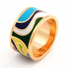 Gold Ring Stainless Steel Fashion Colorful Enamel Rings For Women Vintage Pretty Female Jewelry Big Men Rings 2017
