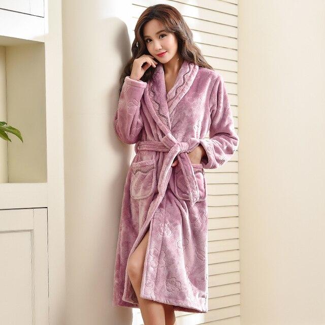 0039494098 Women Sexy High grade Plush Bathrobe Gown Bath Babydoll Lingerie Belt Bath  Robe Sleepweer Plus Size M-3XL Lady Flannel Nightgown