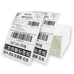 Etiquetas térmicas directas Fanfold 4 x 6 blanco perforado Zebra Eltron etiquetas de envío (2.000 etiquetas por pila)