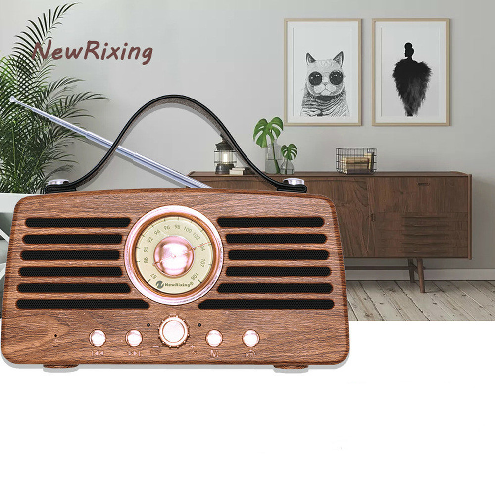 Rétro Vintage Radio Super basse FM Radio haut-parleur multimédia récepteur classique USB avec lecteur MP3 Subwoofer bluetooth haut-parleur