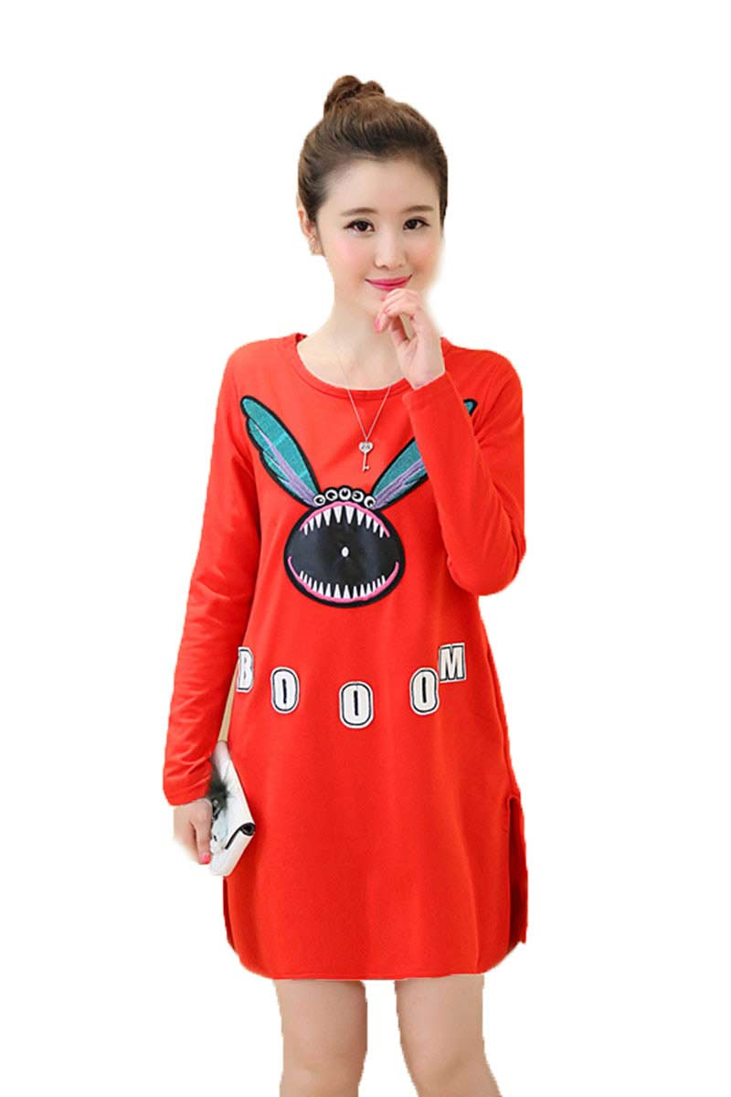 Online get cheap open maternity dress aliexpress alibaba group 2016 autumn women fashion cartoon loose maternity dress large size girls open fork dress pregnant woman ombrellifo Gallery