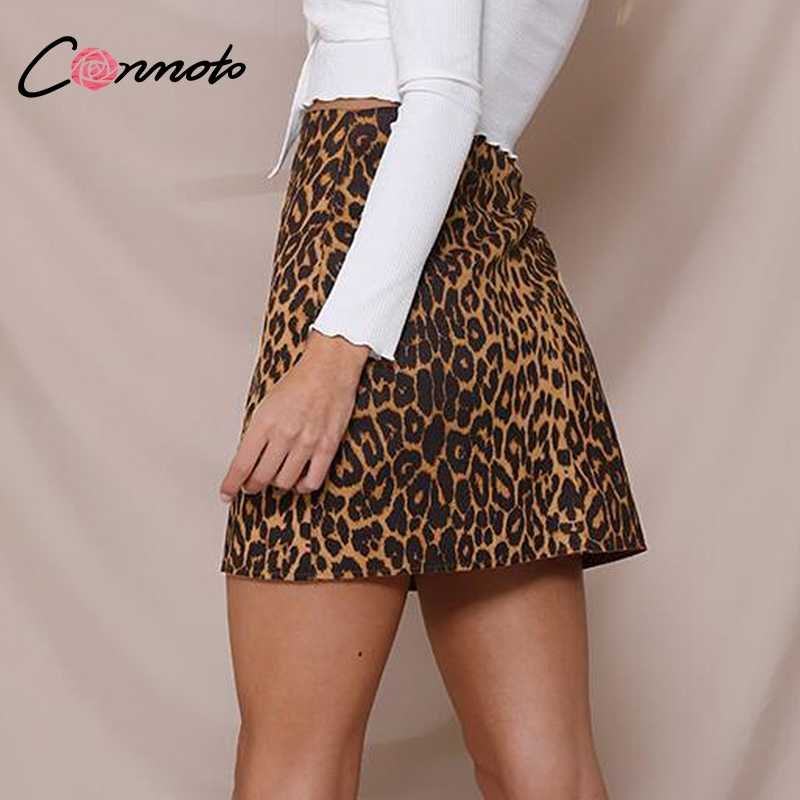 310171d1a4fa ... Conmoto Satin Leopard Print Metal Skirt Women 2018 Autumn Midi Waist  Zipper Split Mini Skirt Sexy ...