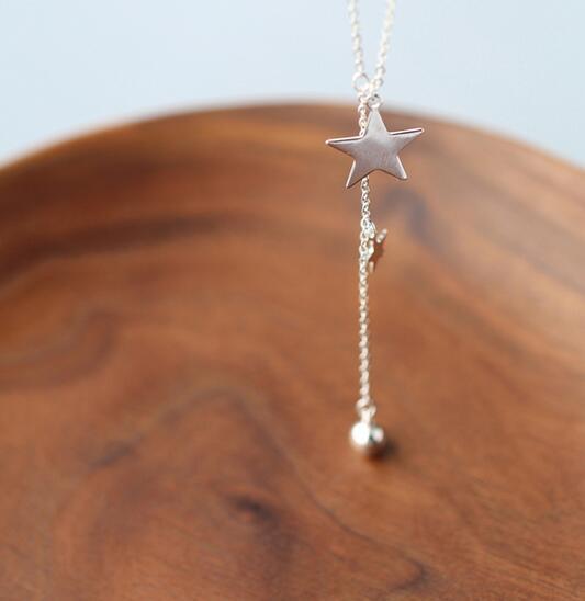 Real. 925 Sterling Silver Jewelry Lariat Naszyjnik z Double Star i - Wykwintna biżuteria - Zdjęcie 5