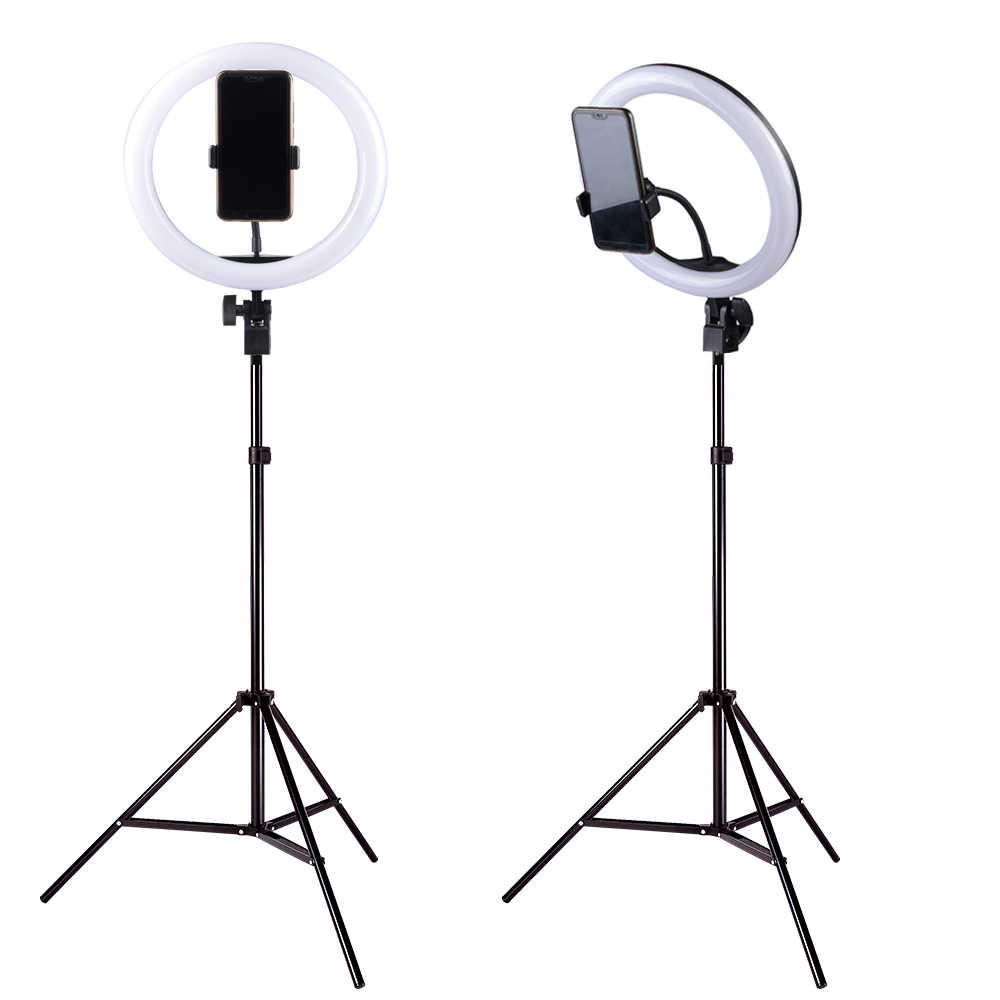 LED Selfie Ring Light Dimmable 3200-5500K Studio Photography Photo Fill Ring Light with 1.9M Tripod for iphone Smartphone Makeup