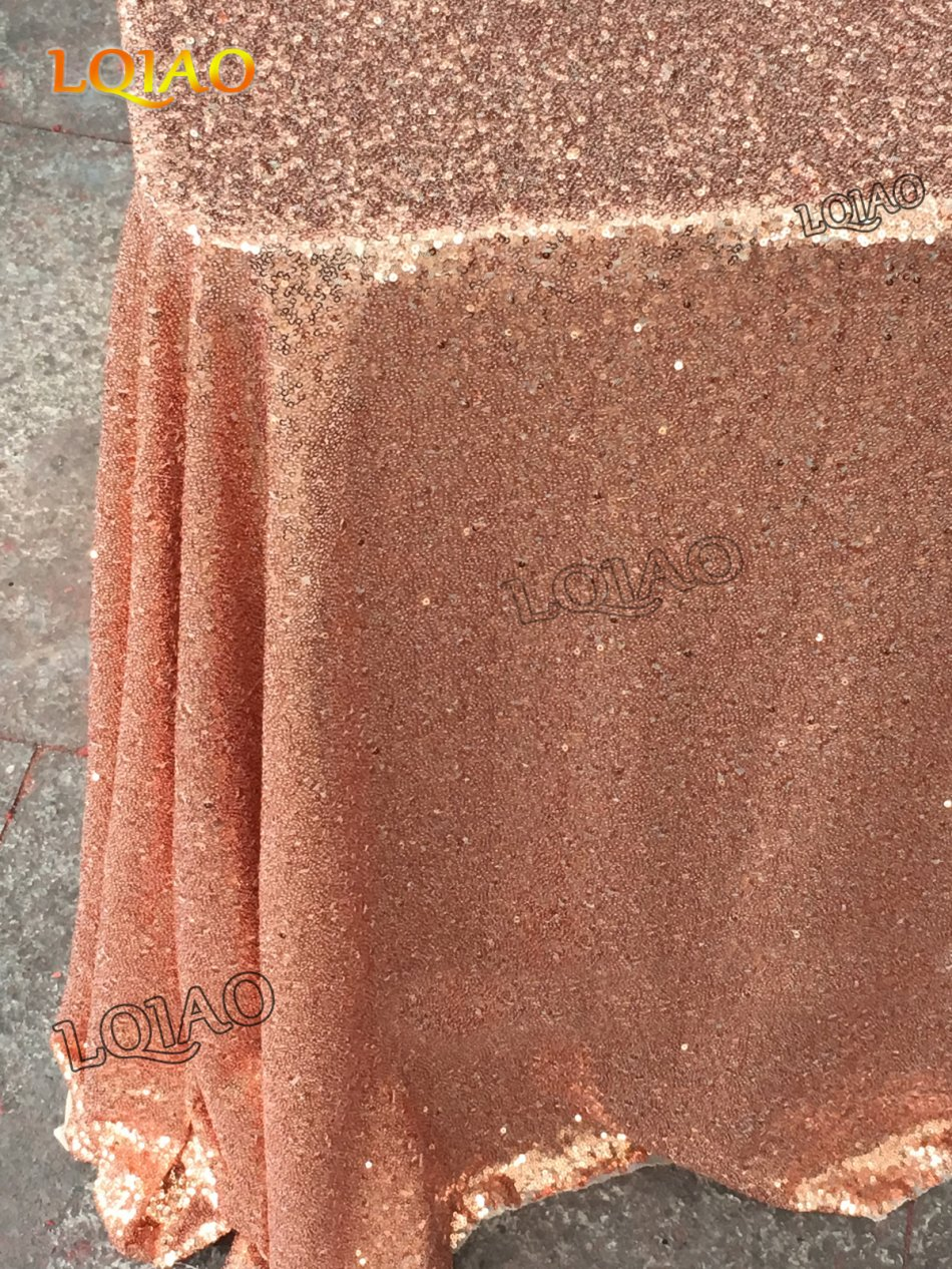Customize 15pcs 90x156in Rose Gold sequin tablecloth for Party decoration