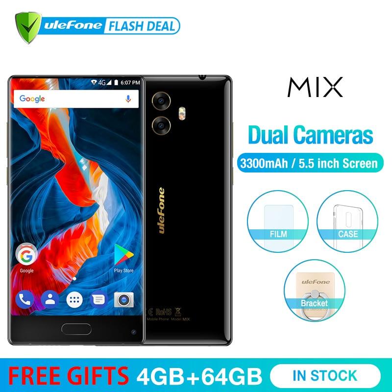 Ulefone MIX 13MP телефон смартфон телефоны смартфоны двойная камера мобильный телефон 5.5 дюймов MTK6750T Octa core android 7.0 4 ГБ + 64 ГБ сканер отпечатков пальц...