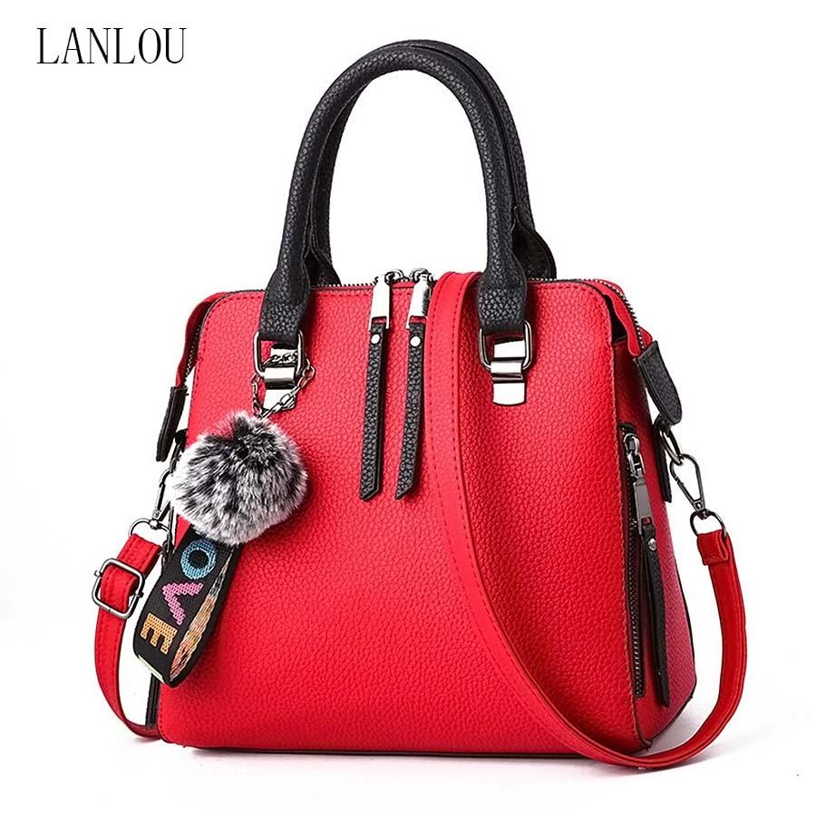 LANLOU Women Bags PU Leather Shoulder Bag Fur Ball Crossbody Flap Bags Female Messenger Bag Solid Color Handbags