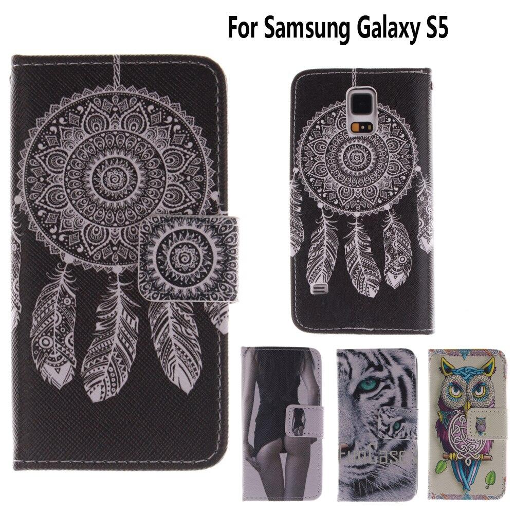 Portefeuille Cas pour fundas Samsung S5 Cas de Couverture S5 SV i9600 i9605 pour coque Samsung Galaxy S5 Cas 5.1 pouce + Carte titulaire