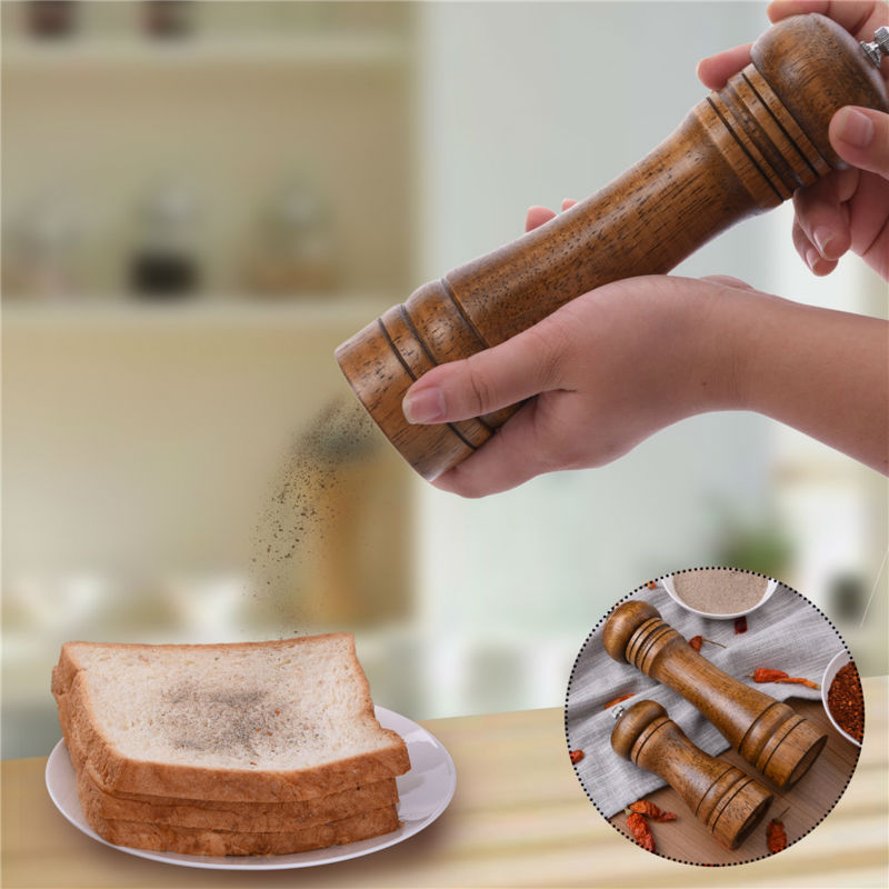 AIHOME Wooden Salt & Pepper Grinders Salt And Pepper & Spice Grinders Mills Manual Pepper Mill 2 Sizes Practial Kitchen Tools