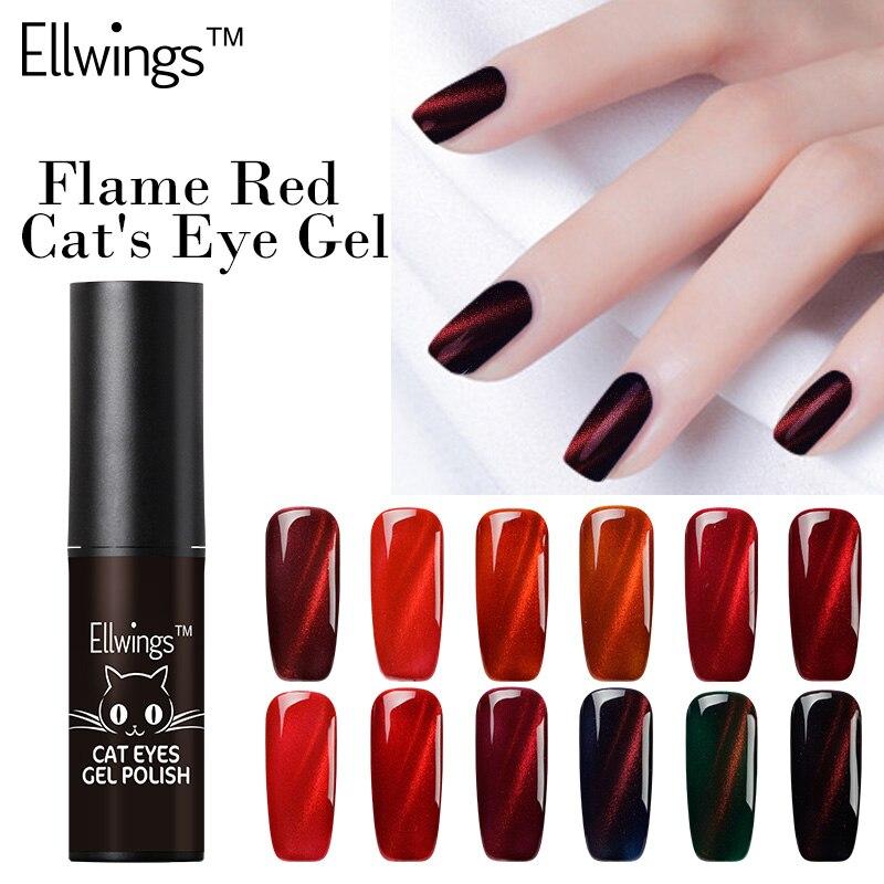 Ellwings 2017 New Arrival Red Line 3D Glitter Colors Magnet DIY Gel Polish Fire Cat Eye