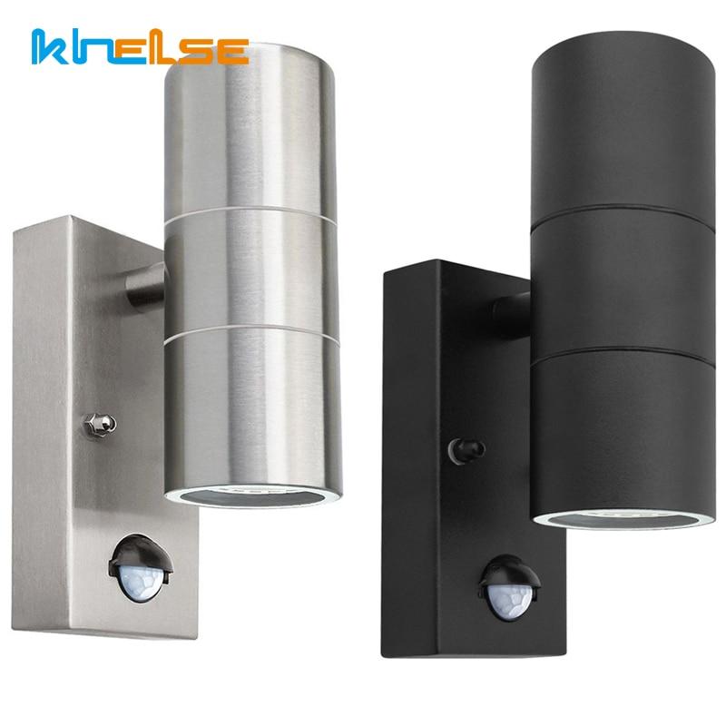 preto pir sensor de movimento inducao aco inoxidavel pir luz parede dupla ao ar livre 10