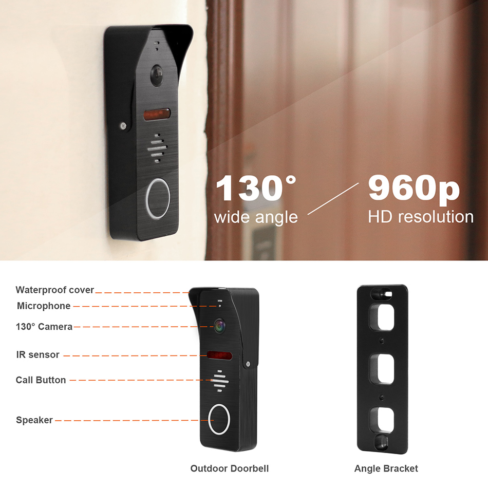 Image 3 - Wired Video Intercom HD 960P Video Door Phone for Home 130 degree Doorbell Camera Motion Detect Record Home Intercom System Kit-in Video Intercom from Security & Protection
