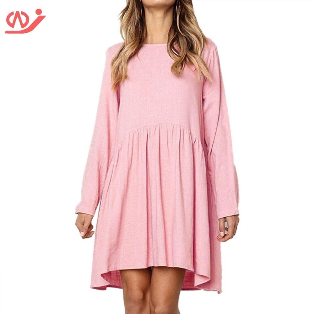 c6b8b67014b Women s Casual Plain Fit Flowy Simple Swing T Shirt Loose Tunic Dress -in  Dresses from Women s Clothing on Aliexpress.com