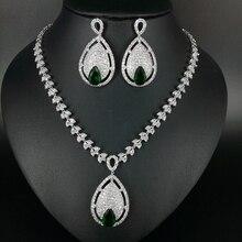 NEW Luxury fashion big water drop green zircon necklace earrings sets bride wedding formal dress banquet  jewelry free shippi