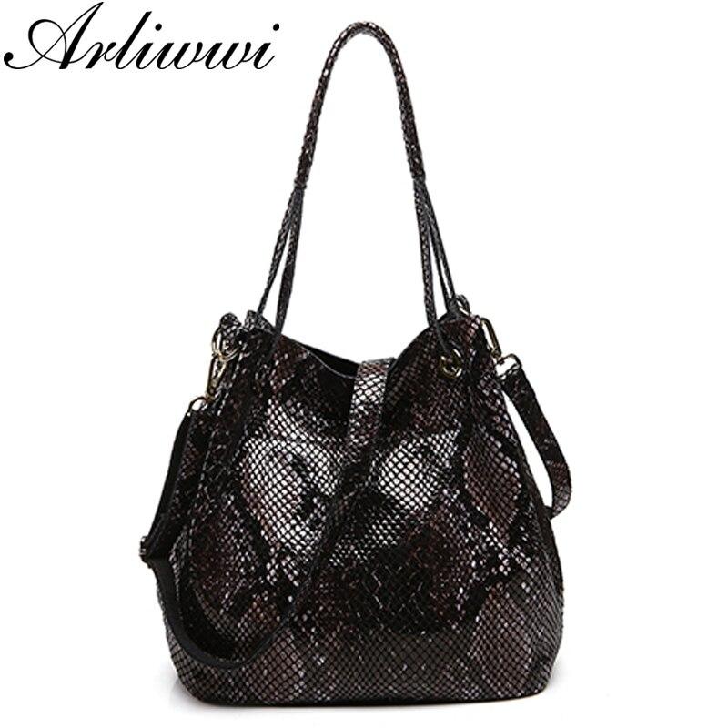Arliwwi marque Sexy luxe Serpentine motif véritable cuir de vache grande capacité sacs à main pour femmes * livraison gratuite-in Sacs à bandoulière from Baggages et sacs    1