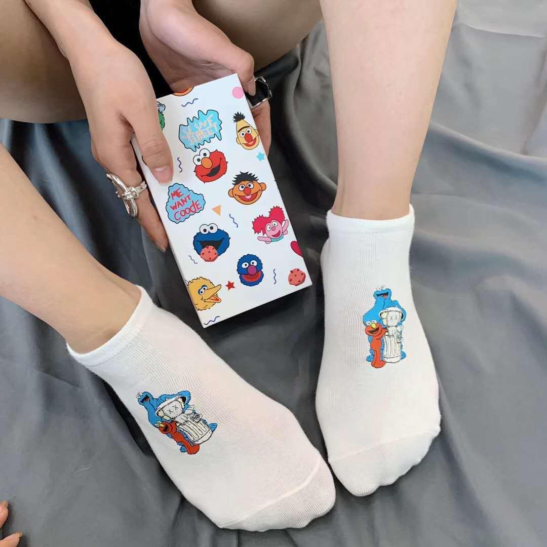 Ins Style Funny Women Short Set Socks 5 Pairs Cartoon Patterned Sesame Street Cotton Ankle Breathable Female Harajuku Cool Sox in Socks from Underwear Sleepwears