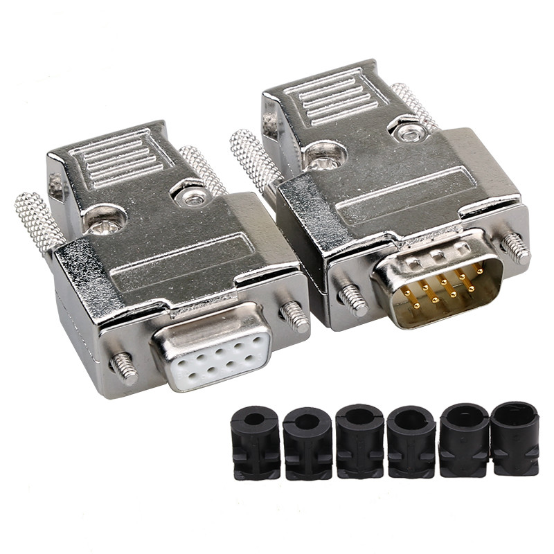 DB9 Metal Connector Female/Male Adapter Series Connector D-Sub Plug COM Gold-Plated Copper Contactors 9 Pin 2Row Port Socket